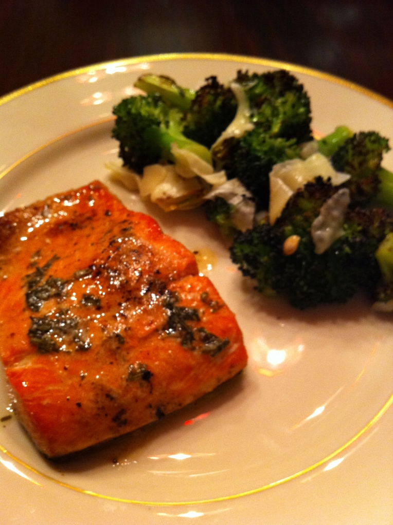 broiled salmon and BFBroccoli