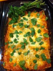 Mex lasagne in dish w cilantro