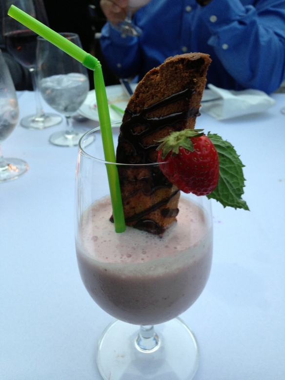 Dessert: Strawberry Milkshake and Biscotti